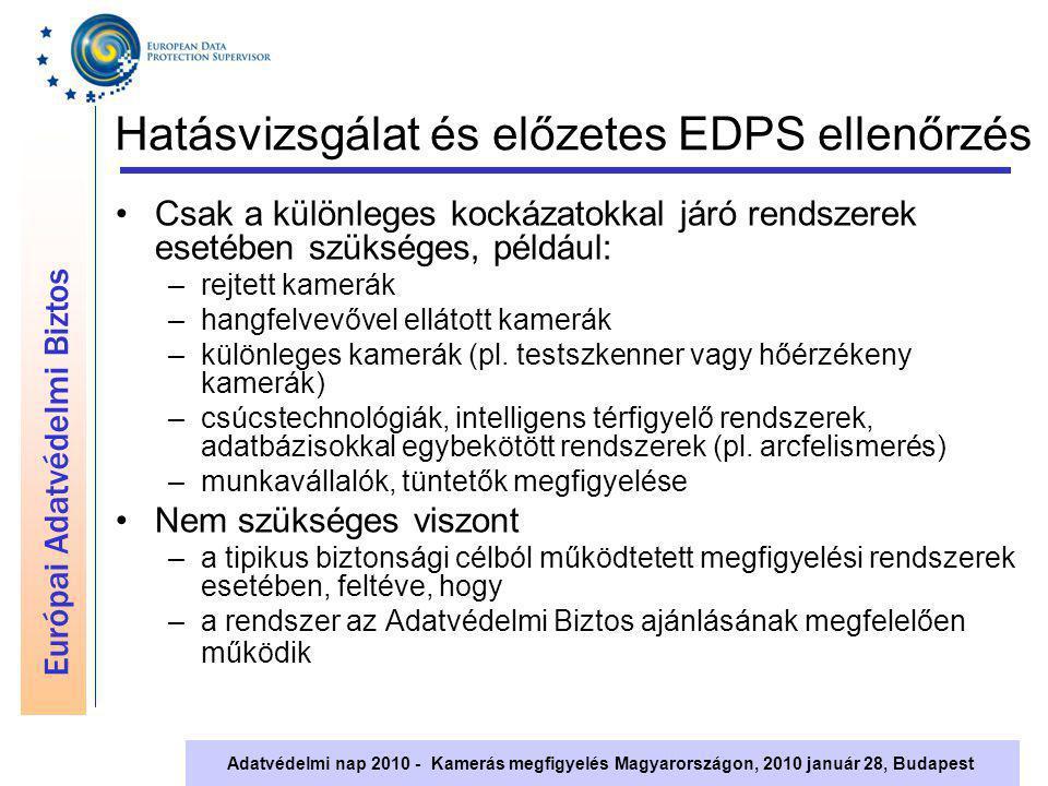 Európai Adatvédelmi Biztos Adatvédelmi nap 2010 - Kamerás megfigyelés Magyarországon, 2010 január 28, Budapest Hatásvizsgálat és előzetes EDPS ellenőr