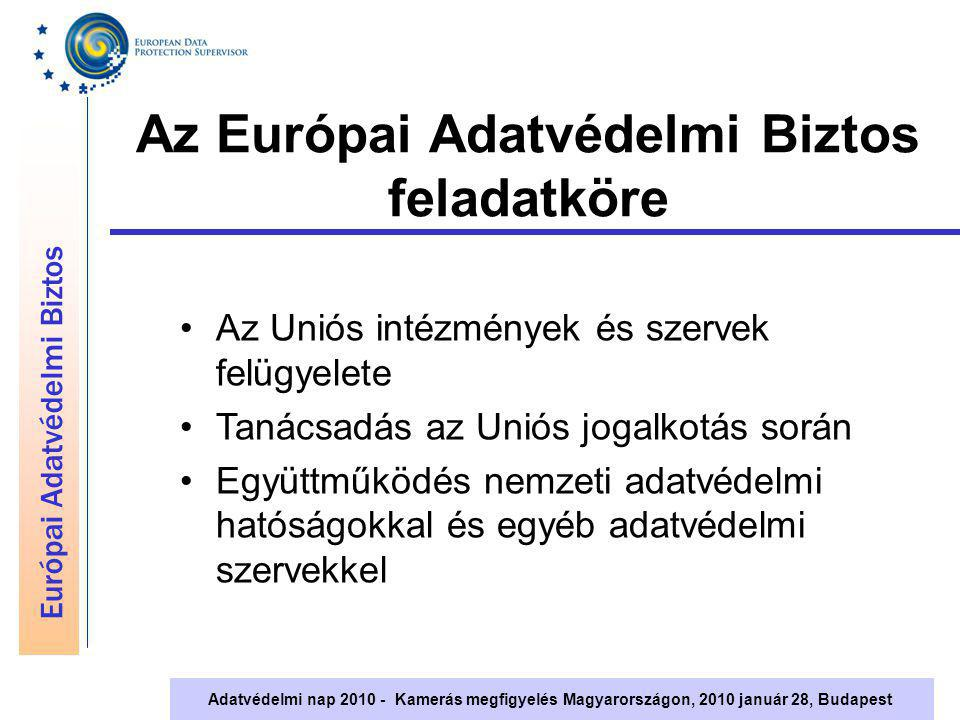 Európai Adatvédelmi Biztos Adatvédelmi nap 2010 - Kamerás megfigyelés Magyarországon, 2010 január 28, Budapest Az Európai Adatvédelmi Biztos feladatkö