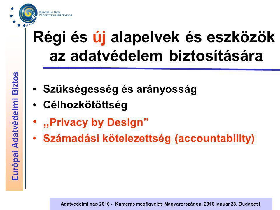 """Európai Adatvédelmi Biztos Adatvédelmi nap 2010 - Kamerás megfigyelés Magyarországon, 2010 január 28, Budapest """"Privacy by design Az adatvédelem a projekt tervezésének szerves része, a kezdetektől fogva Adatvédelmet elősegítő műszaki megoldások és szervezeti intézkedések Az adatvédelmi tisztviselők szerepe Konzultáció minden érintett bevonásával"""