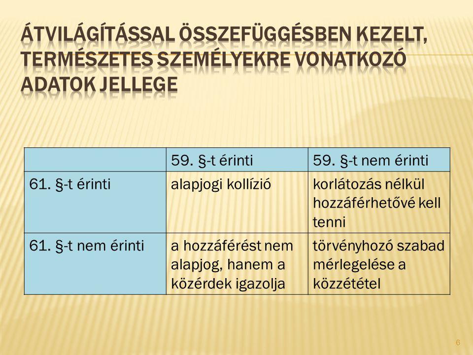 59. §-t érinti59. §-t nem érinti 61. §-t érintialapjogi kollíziókorlátozás nélkül hozzáférhetővé kell tenni 61. §-t nem érintia hozzáférést nem alapjo