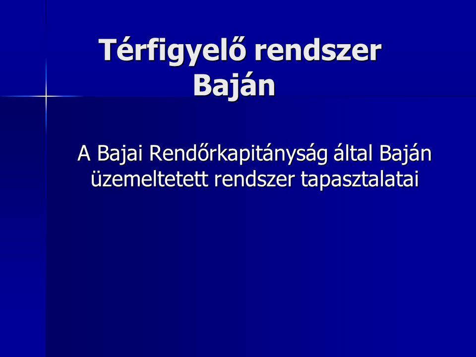 Térfigyelő rendszer Baján A Bajai Rendőrkapitányság által Baján üzemeltetett rendszer tapasztalatai