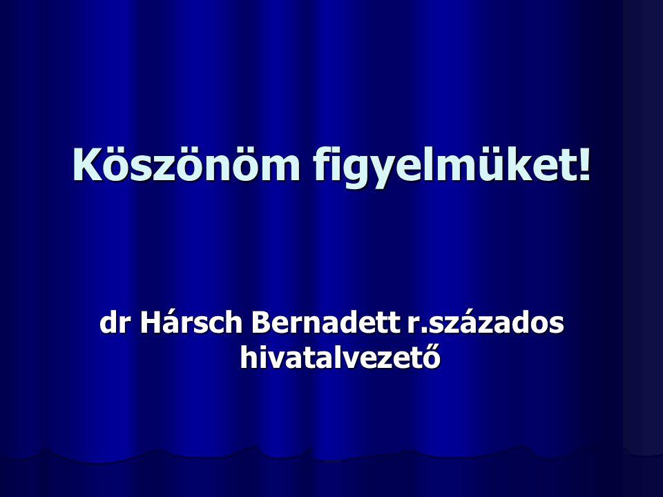 Köszönöm figyelmüket! dr Hársch Bernadett r.százados hivatalvezető hivatalvezető