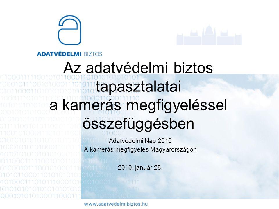 Az adatvédelmi biztos tapasztalatai a kamerás megfigyeléssel összefüggésben Adatvédelmi Nap 2010 A kamerás megfigyelés Magyarországon 2010. január 28.