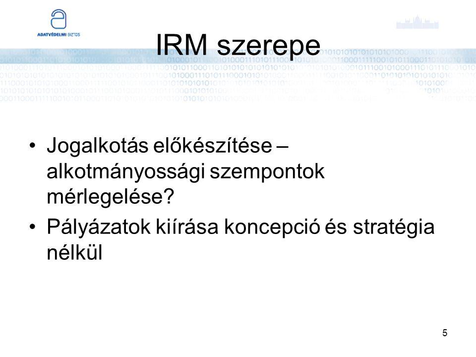 5 IRM szerepe Jogalkotás előkészítése – alkotmányossági szempontok mérlegelése? Pályázatok kiírása koncepció és stratégia nélkül