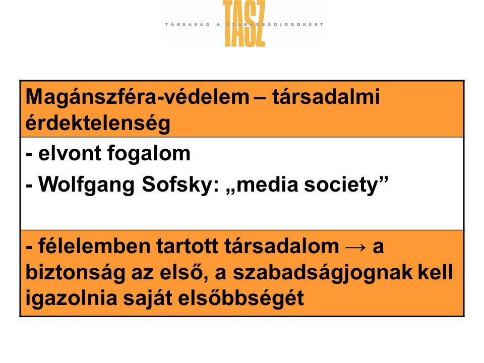 """Magánszféra-védelem – társadalmi érdektelenség - elvont fogalom - Wolfgang Sofsky: """"media society - félelemben tartott társadalom → a biztonság az első, a szabadságjognak kell igazolnia saját elsőbbségét"""