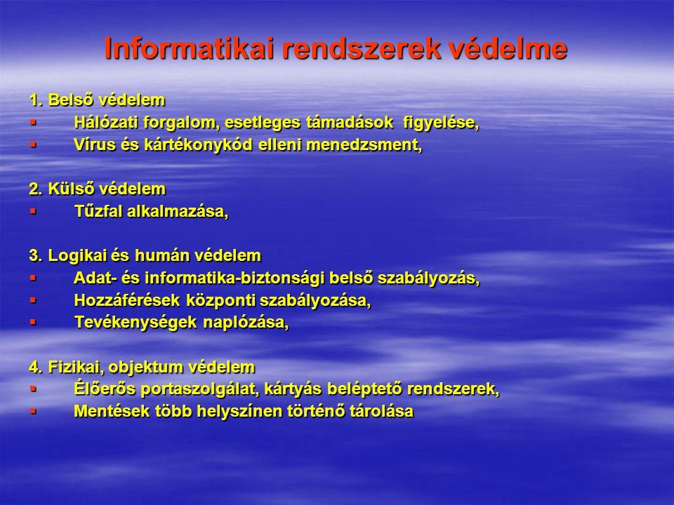 Informatikai rendszerek védelme 1. Belső védelem  Hálózati forgalom, esetleges támadások figyelése,  Vírus és kártékonykód elleni menedzsment, 2. Kü