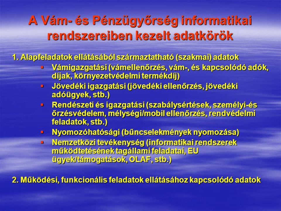 A Vám- és Pénzügyőrség informatikai rendszereiben kezelt adatkörök 1. Alapfeladatok ellátásából származtatható (szakmai) adatok  Vámigazgatási (vámel