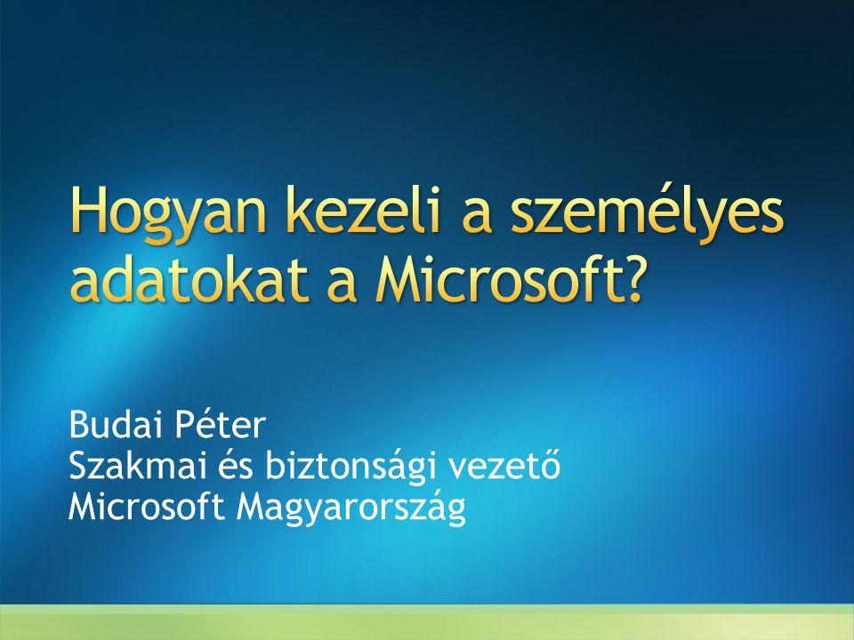Budai Péter Szakmai és biztonsági vezető Microsoft Magyarország