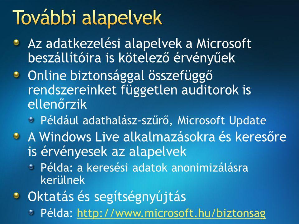 Az adatkezelési alapelvek a Microsoft beszállítóira is kötelező érvényűek Online biztonsággal összefüggő rendszereinket független auditorok is ellenőrzik Például adathalász-szűrő, Microsoft Update A Windows Live alkalmazásokra és keresőre is érvényesek az alapelvek Példa: a keresési adatok anonimizálásra kerülnek Oktatás és segítségnyújtás Példa: http://www.microsoft.hu/biztonsaghttp://www.microsoft.hu/biztonsag