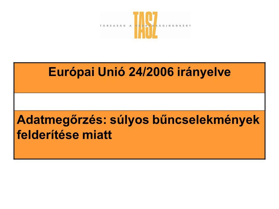 Európai Unió 24/2006 irányelve Adatmegőrzés: súlyos bűncselekmények felderítése miatt
