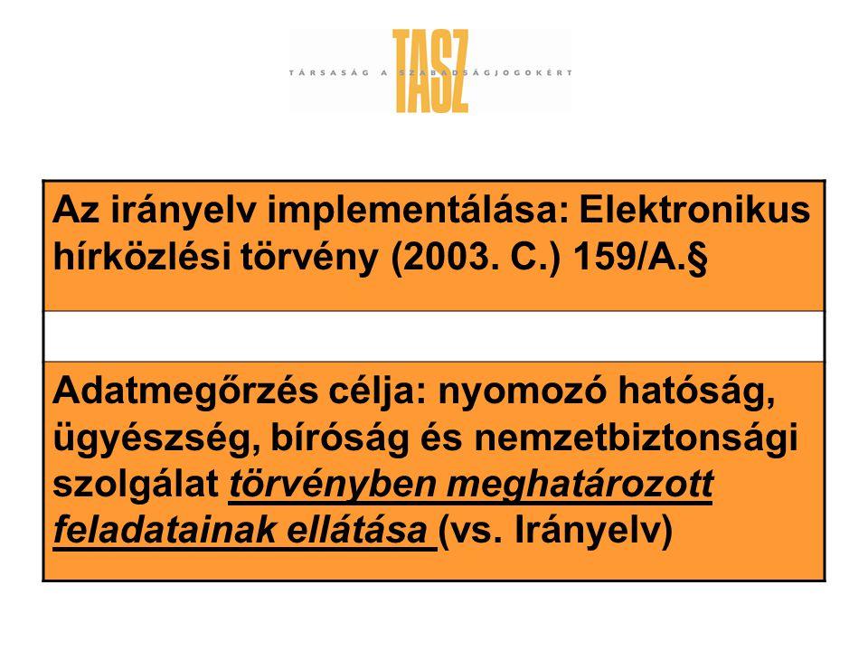 Az irányelv implementálása: Elektronikus hírközlési törvény (2003.