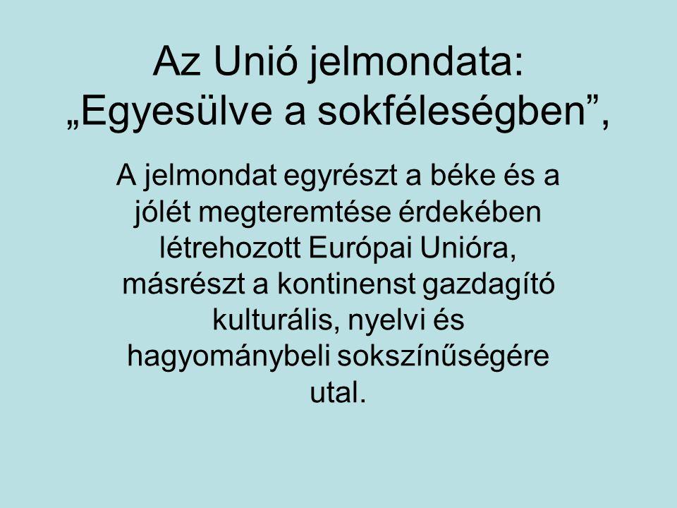 """Az Unió jelmondata: """"Egyesülve a sokféleségben , A jelmondat egyrészt a béke és a jólét megteremtése érdekében létrehozott Európai Unióra, másrészt a kontinenst gazdagító kulturális, nyelvi és hagyománybeli sokszínűségére utal."""