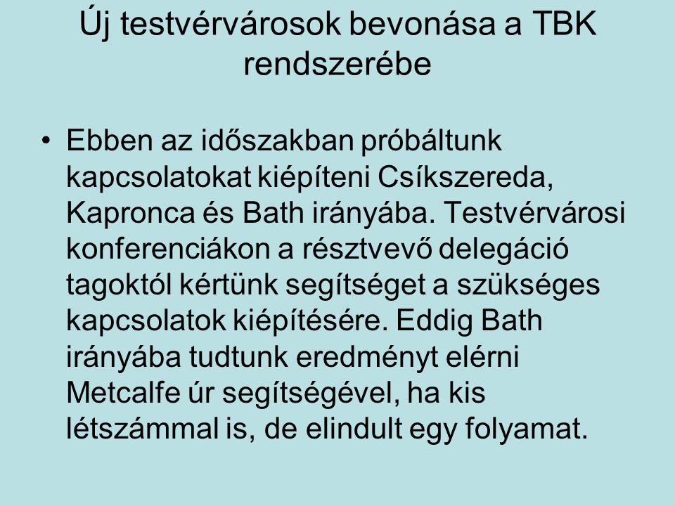 Új testvérvárosok bevonása a TBK rendszerébe Ebben az időszakban próbáltunk kapcsolatokat kiépíteni Csíkszereda, Kapronca és Bath irányába.