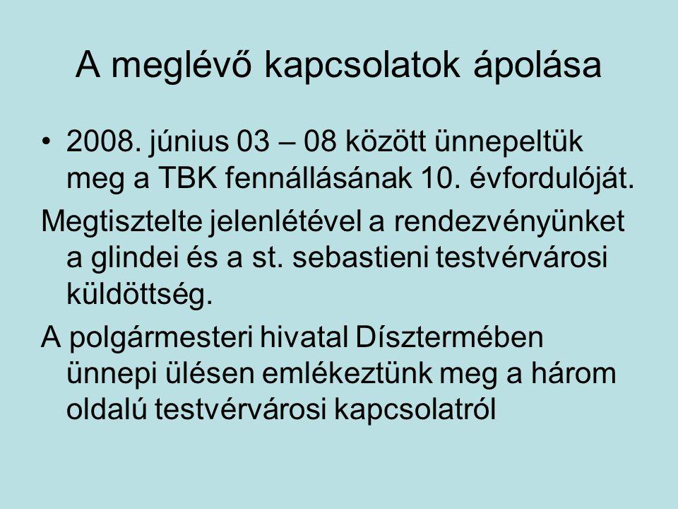 2008. június 03 – 08 között ünnepeltük meg a TBK fennállásának 10. évfordulóját. Megtisztelte jelenlétével a rendezvényünket a glindei és a st. sebast