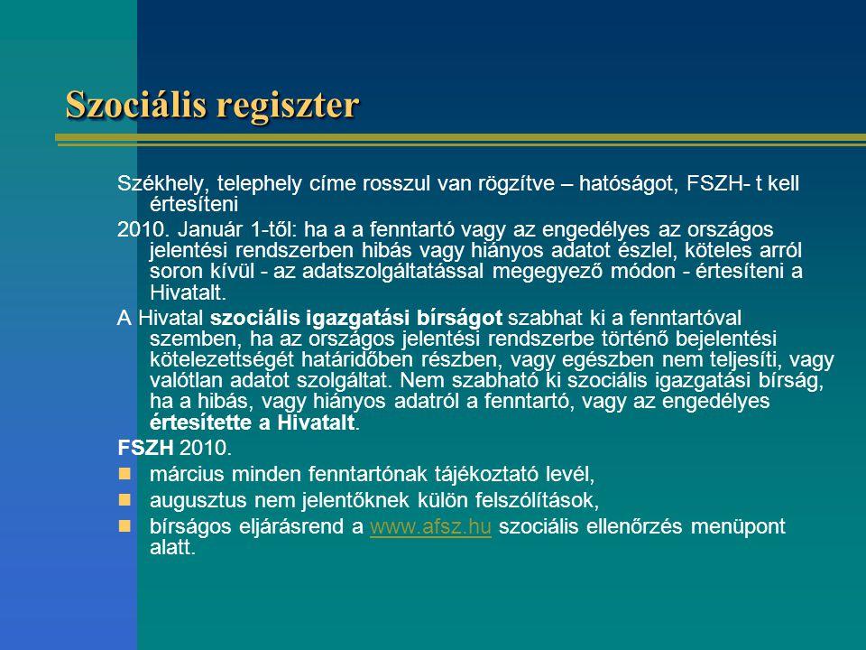 Szociális regiszter Székhely, telephely címe rosszul van rögzítve – hatóságot, FSZH- t kell értesíteni 2010.