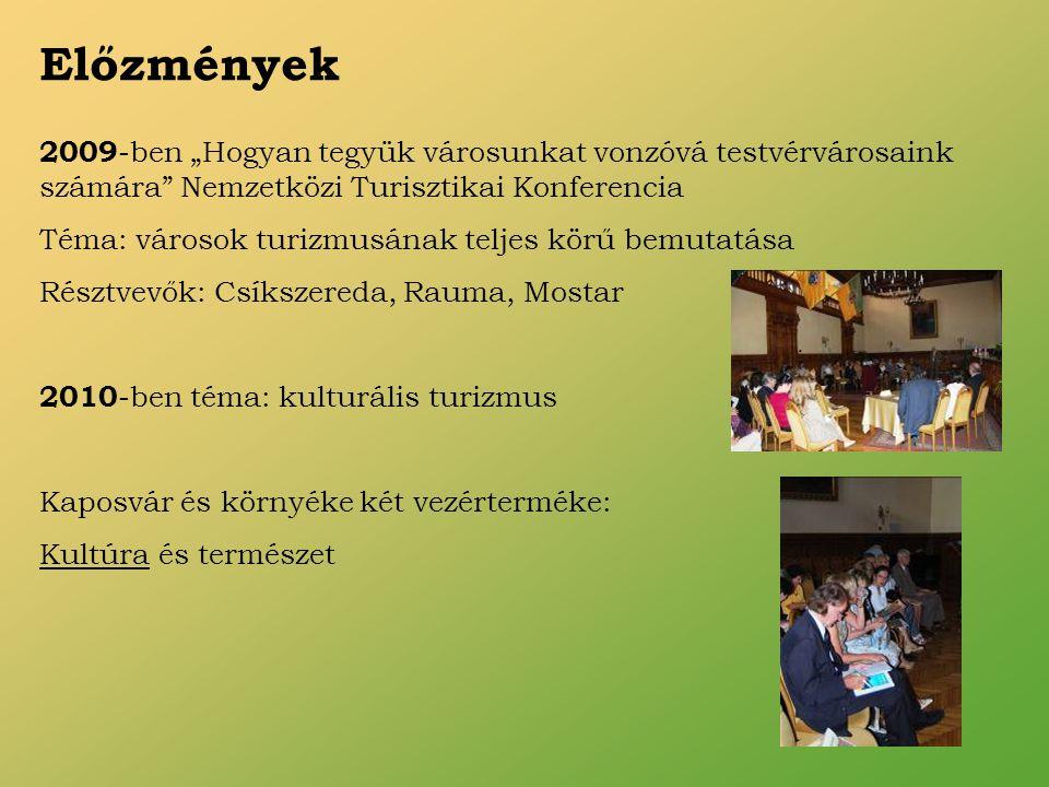 """2009 -ben """"Hogyan tegyük városunkat vonzóvá testvérvárosaink számára Nemzetközi Turisztikai Konferencia Téma: városok turizmusának teljes körű bemutatása Résztvevők: Csíkszereda, Rauma, Mostar 2010 -ben téma: kulturális turizmus Kaposvár és környéke két vezérterméke: Kultúra és természet Előzmények"""
