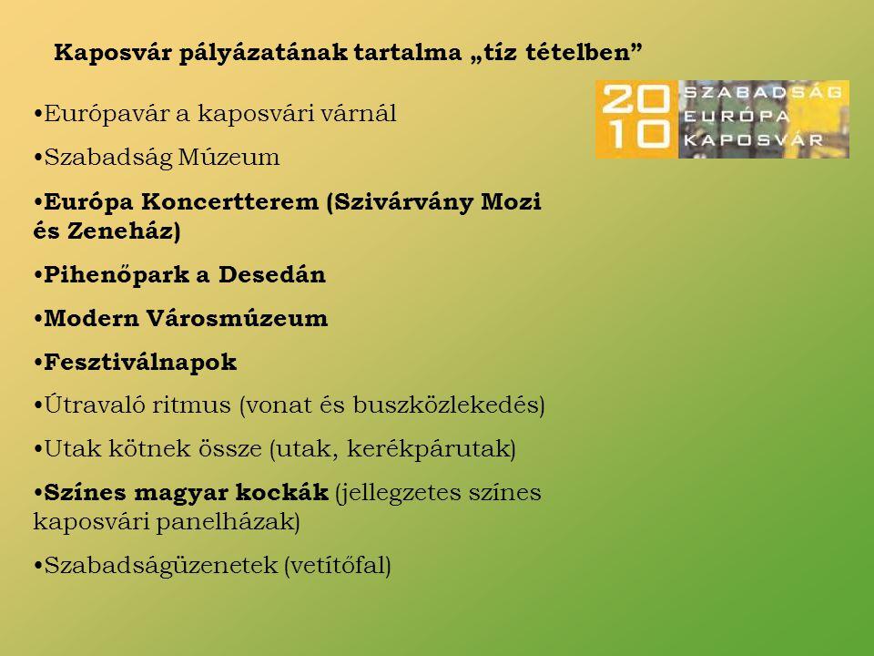 """Kaposvár pályázatának tartalma """"tíz tételben Európavár a kaposvári várnál Szabadság Múzeum Európa Koncertterem (Szivárvány Mozi és Zeneház) Pihenőpark a Desedán Modern Városmúzeum Fesztiválnapok Útravaló ritmus (vonat és buszközlekedés) Utak kötnek össze (utak, kerékpárutak) Színes magyar kockák (jellegzetes színes kaposvári panelházak) Szabadságüzenetek (vetítőfal)"""