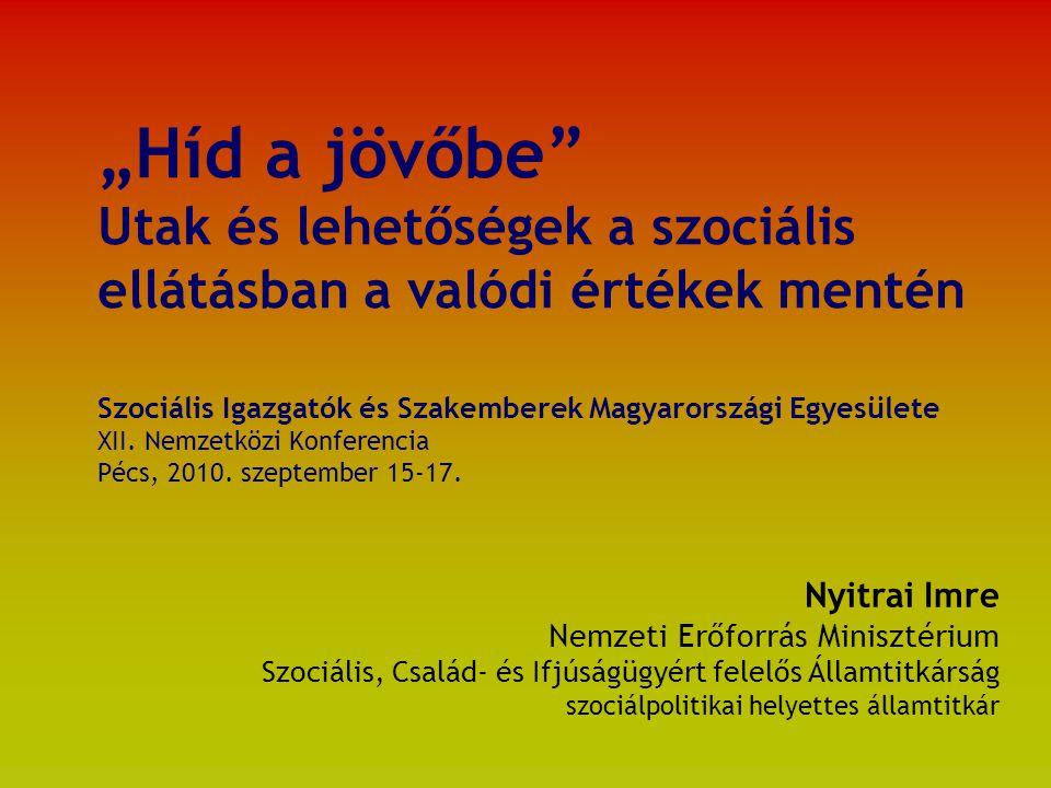 """""""Híd a jövőbe Utak és lehetőségek a szociális ellátásban a valódi értékek mentén Szociális Igazgatók és Szakemberek Magyarországi Egyesülete XII."""
