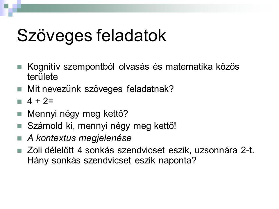 A szövegesfeladat-megoldó képességet befolyásoló kognitív területek kritérium modellje Kelemen, 2010