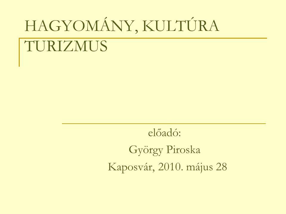 HAGYOMÁNY, KULTÚRA TURIZMUS előadó: György Piroska Kaposvár, 2010. május 28