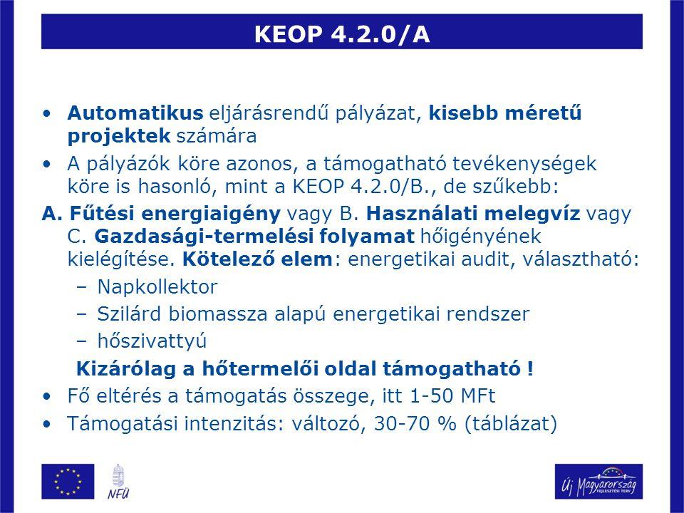 KEOP 4.2.0/A Automatikus eljárásrendű pályázat, kisebb méretű projektek számára A pályázók köre azonos, a támogatható tevékenységek köre is hasonló, m