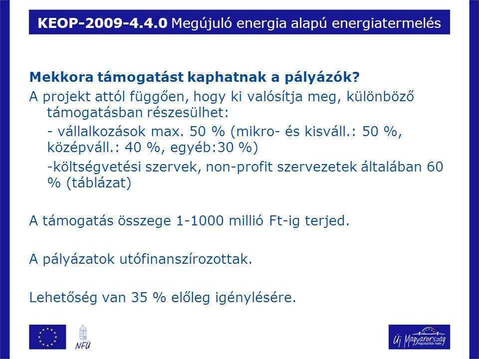 KEOP-2009-4.4.0 Megújuló energia alapú energiatermelés Mekkora támogatást kaphatnak a pályázók? A projekt attól függően, hogy ki valósítja meg, különb
