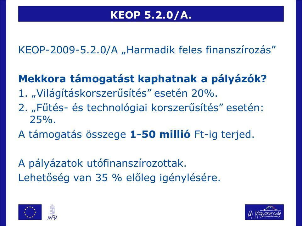 """KEOP 5.2.0/A. KEOP-2009-5.2.0/A """"Harmadik feles finanszírozás"""" Mekkora támogatást kaphatnak a pályázók? 1. """"Világításkorszerűsítés"""" esetén 20%. 2. """"Fű"""