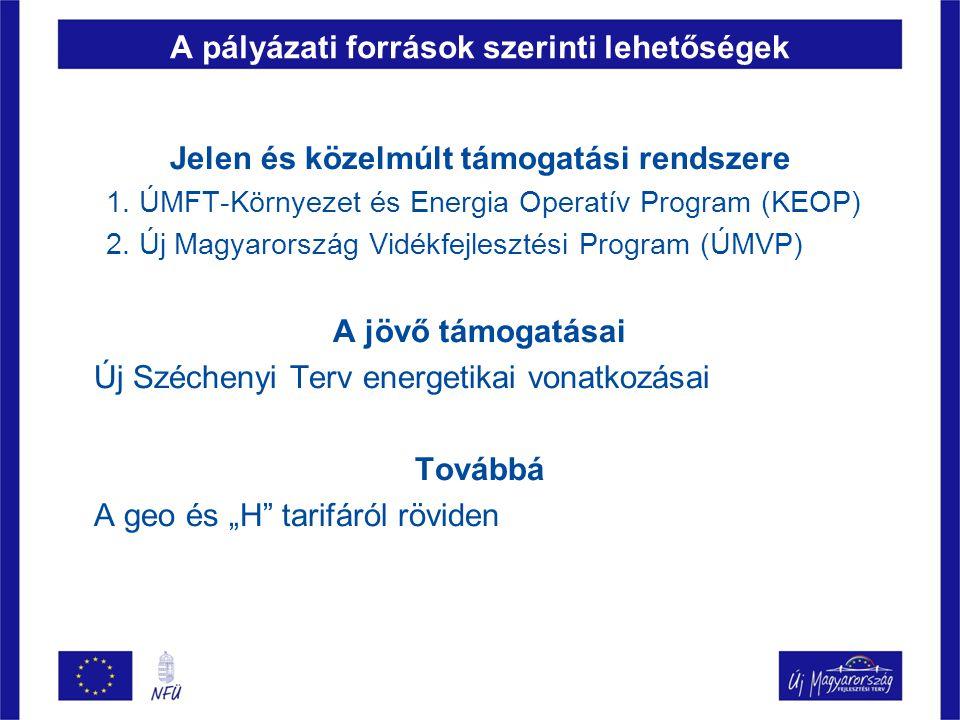 A pályázati források szerinti lehetőségek Jelen és közelmúlt támogatási rendszere 1. ÚMFT-Környezet és Energia Operatív Program (KEOP) 2. Új Magyarors