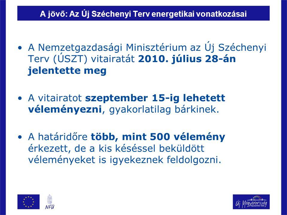 A jövő: Az Új Széchenyi Terv energetikai vonatkozásai A Nemzetgazdasági Minisztérium az Új Széchenyi Terv (ÚSZT) vitairatát 2010. július 28-án jelente
