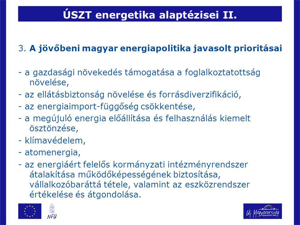 ÚSZT energetika alaptézisei II. 3. A jövőbeni magyar energiapolitika javasolt prioritásai - a gazdasági növekedés támogatása a foglalkoztatottság növe