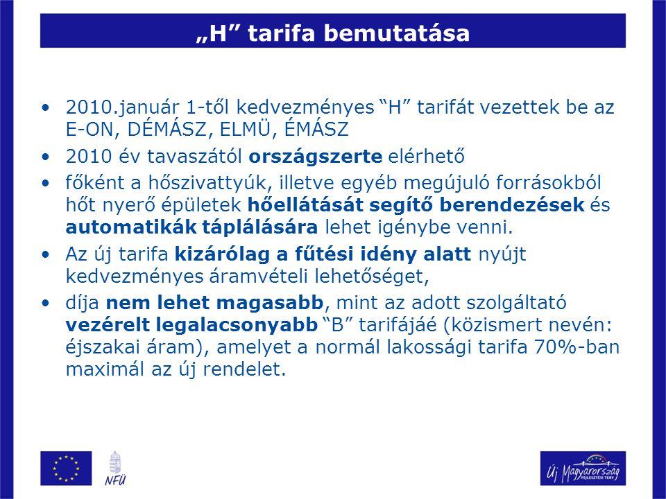 """""""H"""" tarifa bemutatása 2010.január 1-től kedvezményes """"H"""" tarifát vezettek be az E-ON, DÉMÁSZ, ELMÜ, ÉMÁSZ 2010 év tavaszától országszerte elérhető fők"""