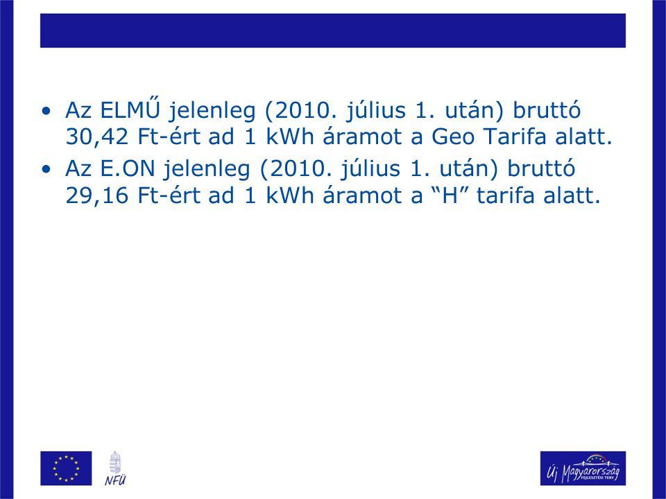 Az ELMŰ jelenleg (2010. július 1. után) bruttó 30,42 Ft-ért ad 1 kWh áramot a Geo Tarifa alatt. Az E.ON jelenleg (2010. július 1. után) bruttó 29,16 F