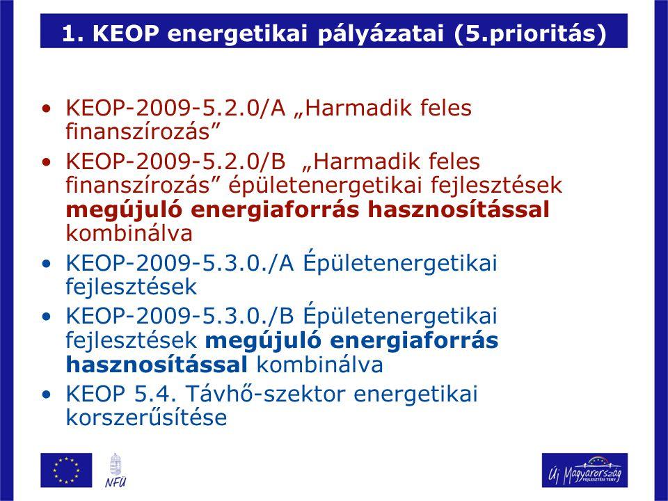 """1. KEOP energetikai pályázatai (5.prioritás) KEOP-2009-5.2.0/A """"Harmadik feles finanszírozás"""" KEOP-2009-5.2.0/B """"Harmadik feles finanszírozás"""" épülete"""