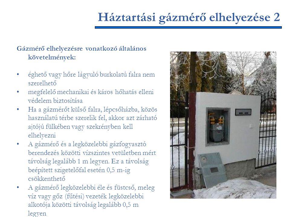 Háztartási gázmérő elhelyezése 2 Gázmérő elhelyezésre vonatkozó általános követelmények: éghető vagy hőre lágyuló burkolatú falra nem szerelhető megfe