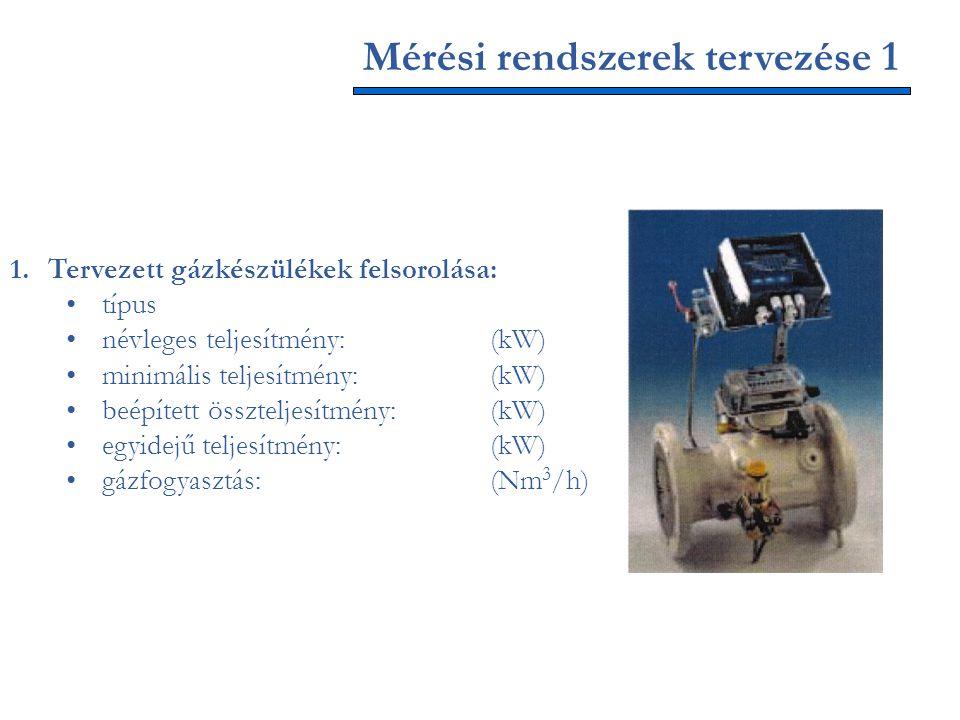 1.Tervezett gázkészülékek felsorolása: típus névleges teljesítmény:(kW) minimális teljesítmény:(kW) beépített összteljesítmény:(kW) egyidejű teljesítm