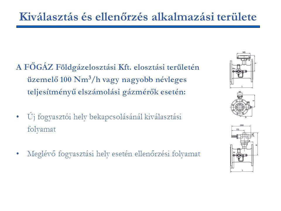 Kiválasztás és ellenőrzés alkalmazási területe A FŐGÁZ Földgázelosztási Kft. elosztási területén üzemelő 100 Nm 3 /h vagy nagyobb névleges teljesítmén