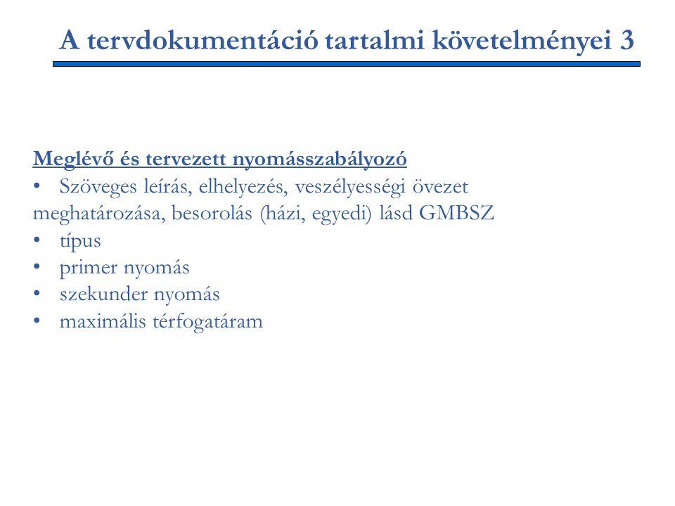 A tervdokumentáció tartalmi követelményei 3 Meglévő és tervezett nyomásszabályozó Szöveges leírás, elhelyezés, veszélyességi övezet meghatározása, besorolás (házi, egyedi) lásd GMBSZ típus primer nyomás szekunder nyomás maximális térfogatáram