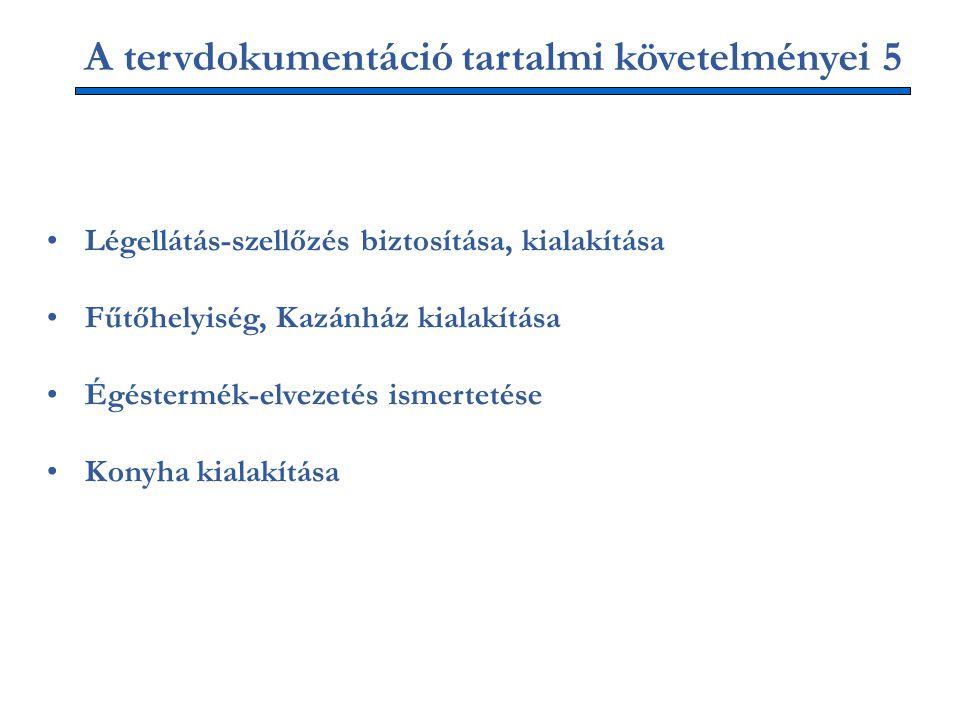 A tervdokumentáció tartalmi követelményei 5 Légellátás-szellőzés biztosítása, kialakítása Fűtőhelyiség, Kazánház kialakítása Égéstermék-elvezetés ismertetése Konyha kialakítása