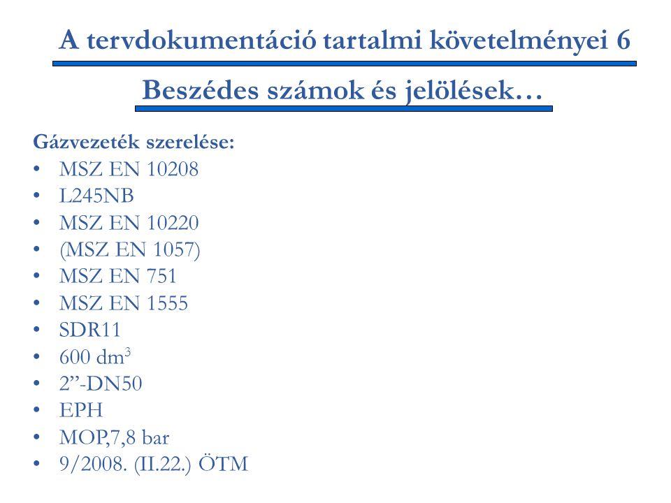 A tervdokumentáció tartalmi követelményei 6 Gázvezeték szerelése: MSZ EN 10208 L245NB MSZ EN 10220 (MSZ EN 1057) MSZ EN 751 MSZ EN 1555 SDR11 600 dm 3