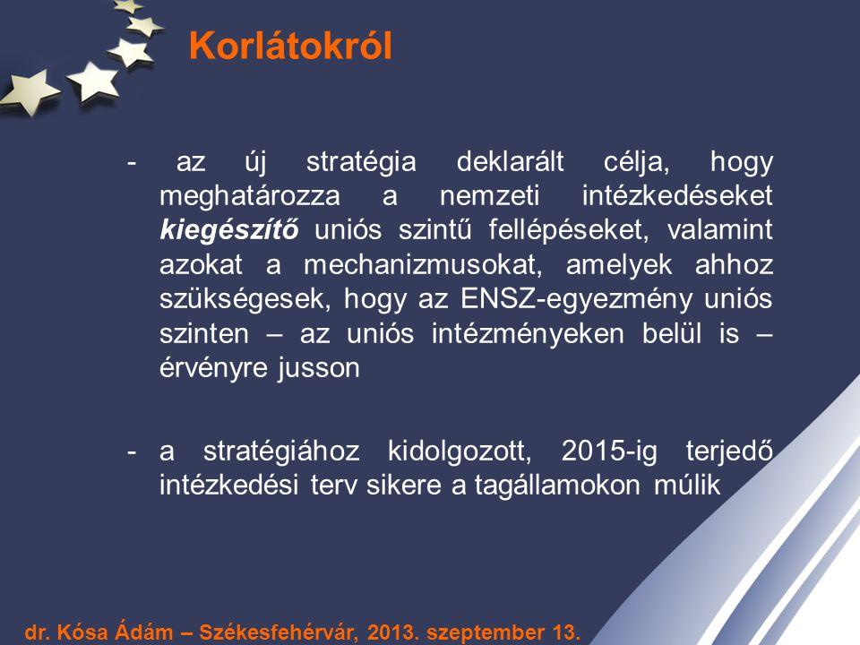 Korlátokról - az új stratégia deklarált célja, hogy meghatározza a nemzeti intézkedéseket kiegészítő uniós szintű fellépéseket, valamint azokat a mech