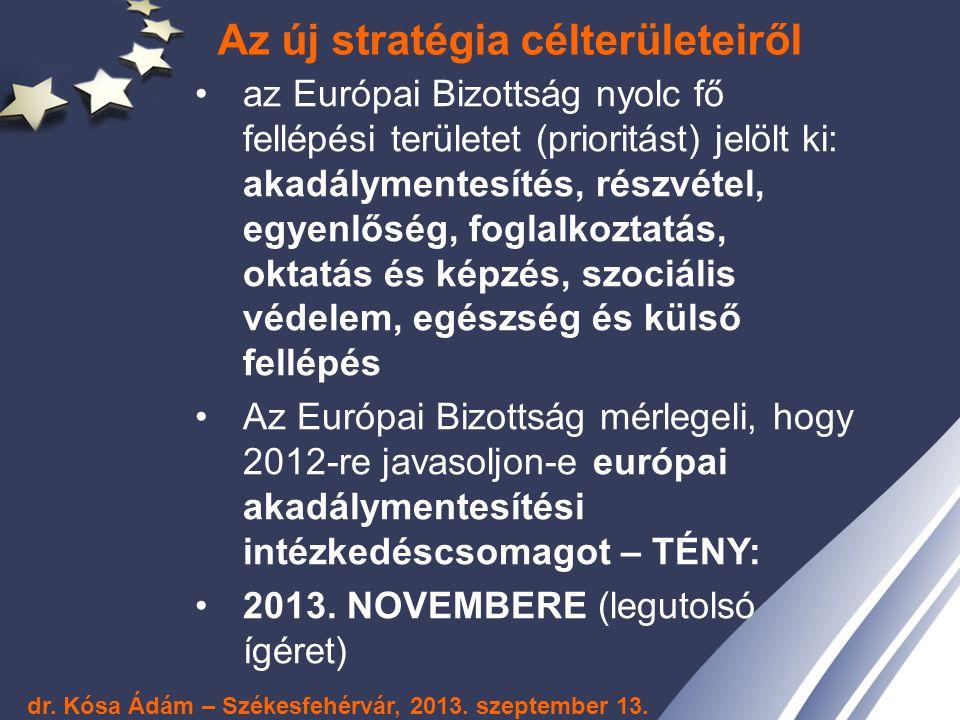 Az új stratégia célterületeiről az Európai Bizottság nyolc fő fellépési területet (prioritást) jelölt ki: akadálymentesítés, részvétel, egyenlőség, fo
