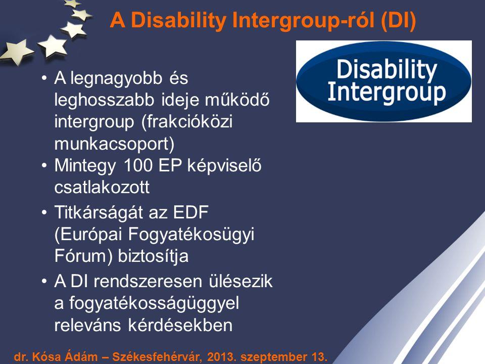 A Disability Intergroup-ról (DI) A legnagyobb és leghosszabb ideje működő intergroup (frakcióközi munkacsoport) Mintegy 100 EP képviselő csatlakozott