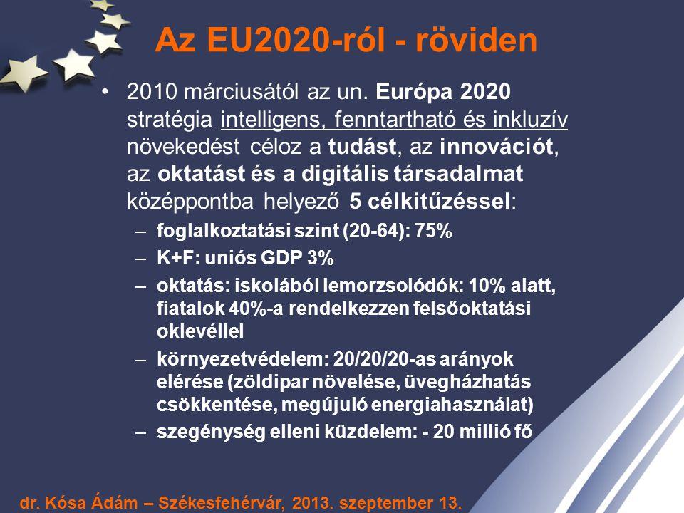 EU2020 – kevesebb indikátor, nagyobb falatok: zászlóshajók 7 zászlóshajó program: 1.Mozgásban az ifjúság 2.Digitális Menetrend 3.Innovatív Unió 4.Erőforrás-hatékony Európa 5.Iparpolitika a globalizáció korában 6.Új készségek és munkahelyek menetrendje: Az oktatási-képzési rendszer olyan készségeket fejlesszen, amivel a létrejövő új állások betölthetők lesznek az európai munkavállalókkal.