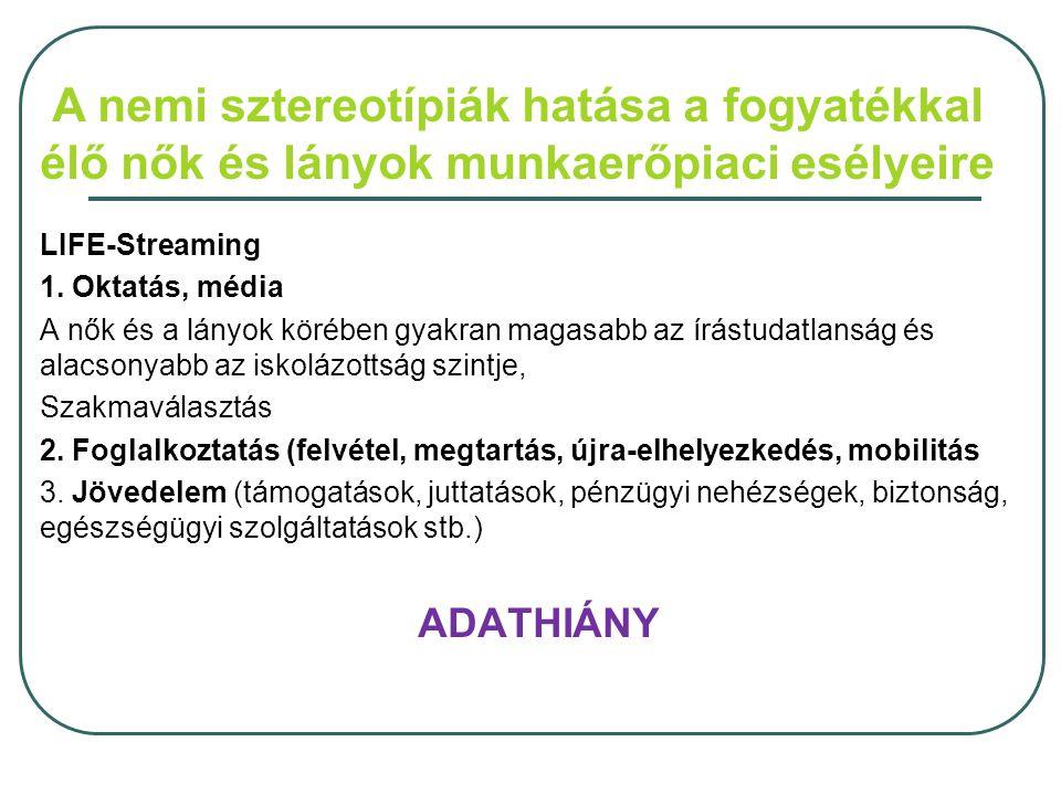 A nemi sztereotípiák hatása a fogyatékkal élő nők és lányok munkaerőpiaci esélyeire LIFE-Streaming 1.