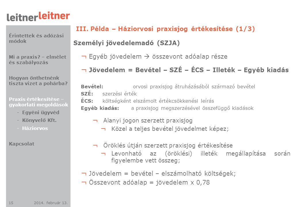 2014. február 13. 15 III. Példa – Háziorvosi praxisjog értékesítése (1/3) Személyi jövedelemadó (SZJA) ¬ Egyéb jövedelem  összevont adóalap része ¬ J
