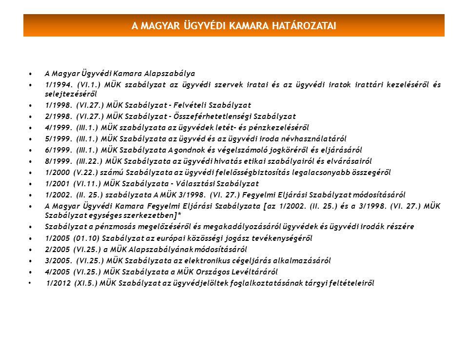 A MAGYAR ÜGYVÉDI KAMARA HATÁROZATAI A Magyar Ügyvédi Kamara Alapszabálya 1/1994. (VI.1.) MÜK szabályzat az ügyvédi szervek iratai és az ügyvédi iratok