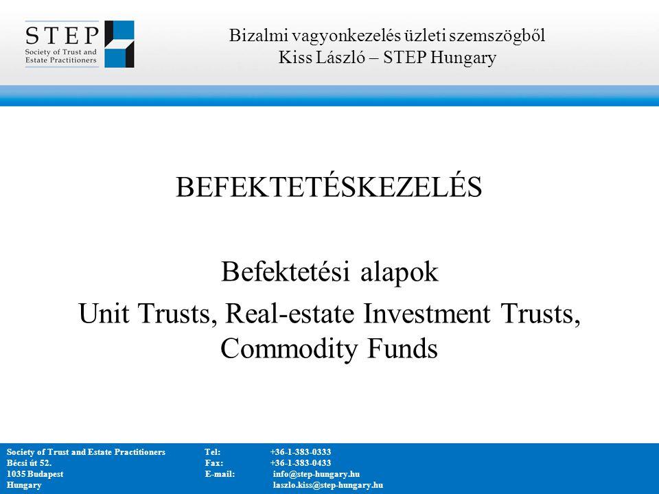 BEFEKTETÉSKEZELÉS Befektetési alapok Unit Trusts, Real-estate Investment Trusts, Commodity Funds Bizalmi vagyonkezelés üzleti szemszögből Kiss László – STEP Hungary Society of Trust and Estate PractitionersTel:+36-1-383-0333 Bécsi út 52.