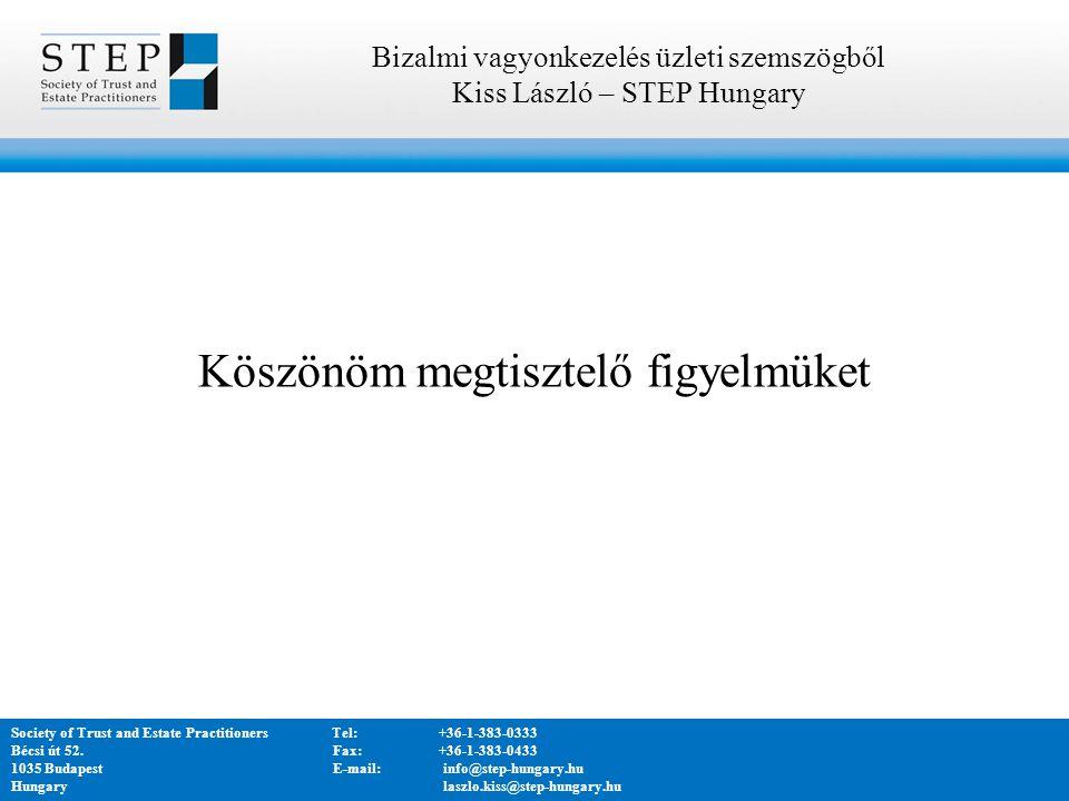 Köszönöm megtisztelő figyelmüket Bizalmi vagyonkezelés üzleti szemszögből Kiss László – STEP Hungary Society of Trust and Estate PractitionersTel:+36-1-383-0333 Bécsi út 52.
