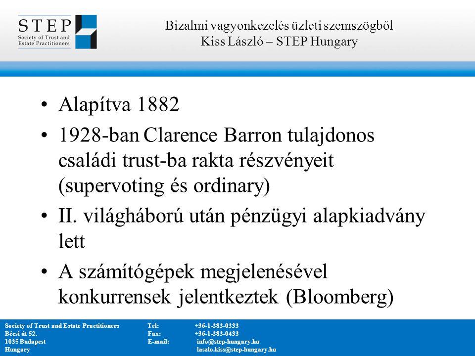 Alapítva 1882 1928-ban Clarence Barron tulajdonos családi trust-ba rakta részvényeit (supervoting és ordinary) II.