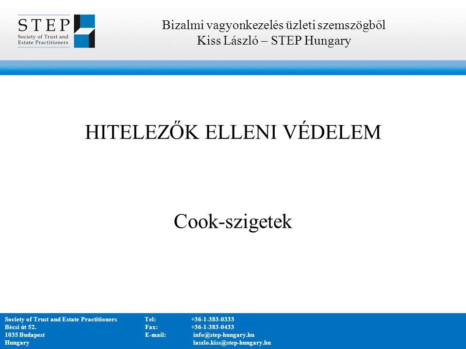 HITELEZŐK ELLENI VÉDELEM Cook-szigetek Bizalmi vagyonkezelés üzleti szemszögből Kiss László – STEP Hungary Society of Trust and Estate PractitionersTel:+36-1-383-0333 Bécsi út 52.